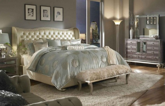 torchiere-floor-lamp-in-chic-bedroom-idea-plus-luxurious-fluff-bench-design-and-tufted-wing-back-headboard-963x619
