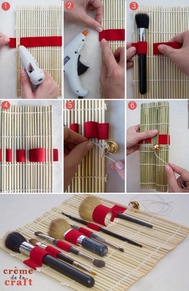 How-to-Make-Makeup-Brush-Roll-Taravel-Kit-DIY-Handmade-Brushes-Travelling-Holder