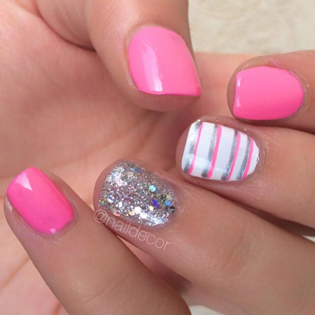 Pink Stripe Nail Design Pink And Sparkly Silver Nail Design For Short Nails