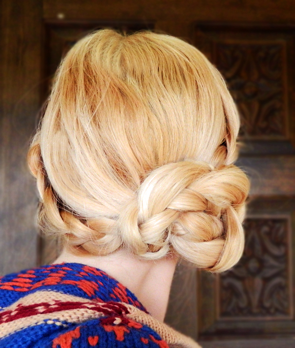 diy double braid side bun how to 4