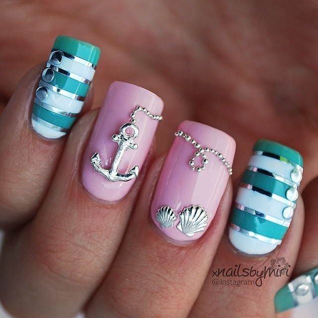 15 fashionable nail designs with anchor patterns for summer nautical nail art xnailsbymiri 4 prinsesfo Gallery