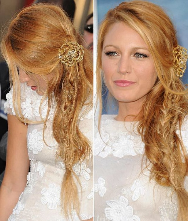 Copper-blonde-hair-color-for-long-hair-with-side-bangs-and-braids