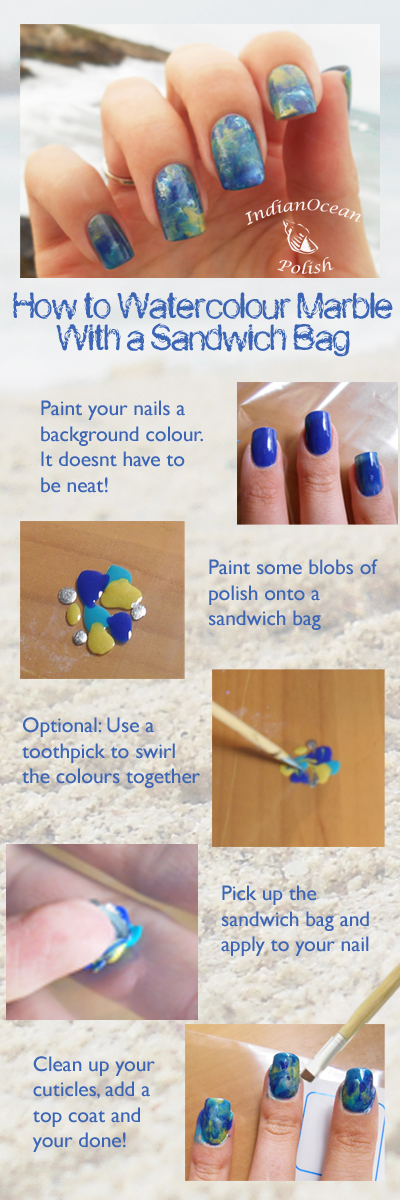 How to Sandwich bag marble smear mani ocean colours nail art tutorial