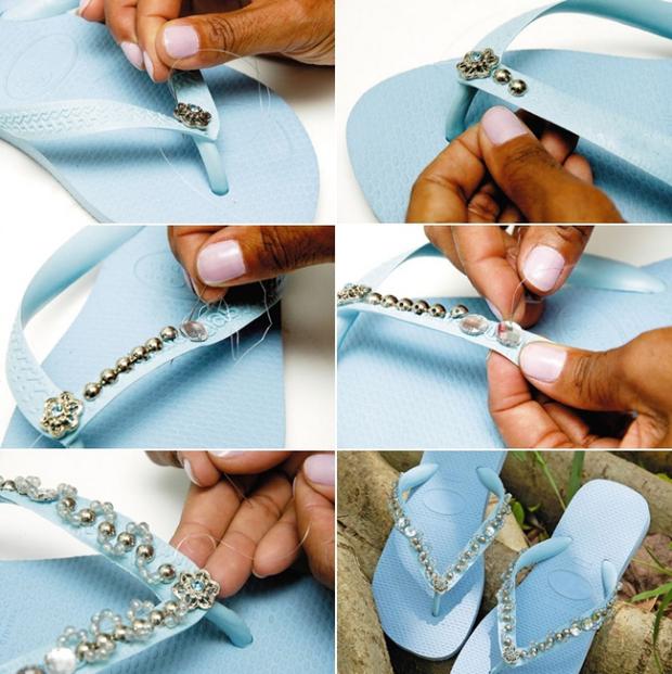 blue-rubber-flip-flops-decorating-beads-rhinestones
