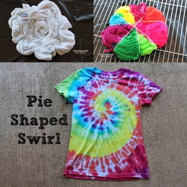 pie shaped swirl tie dye shirt regular classic original easy rainbow color tulip