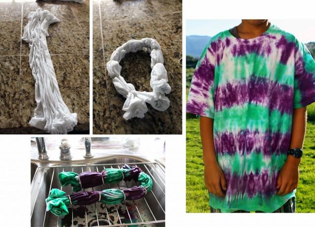 purple green striped tie dye