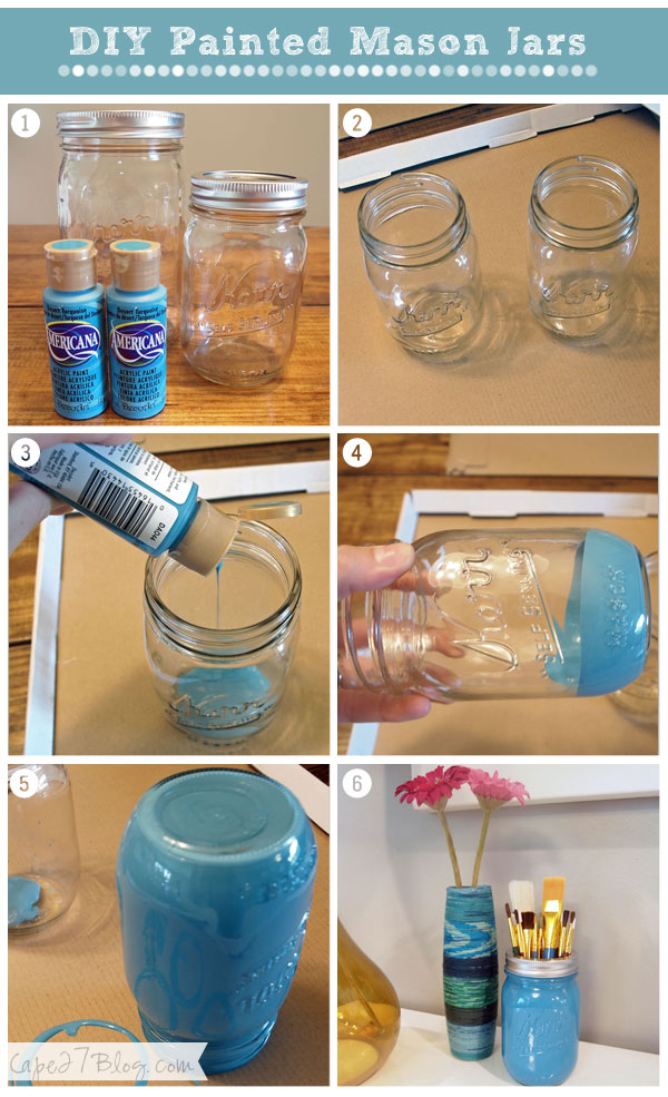 14 mason jar tutorials you have to see for Can you paint candles with acrylic paint