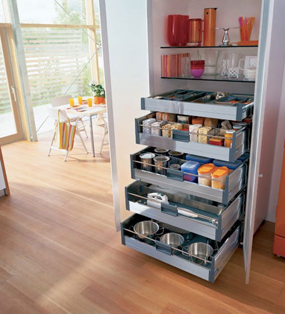 Marvelous Modern Style Storage Kitchen Cabinets Storage Ideas with Wooden Flooring Made from Metal Material for Small Kitchen Design IDea