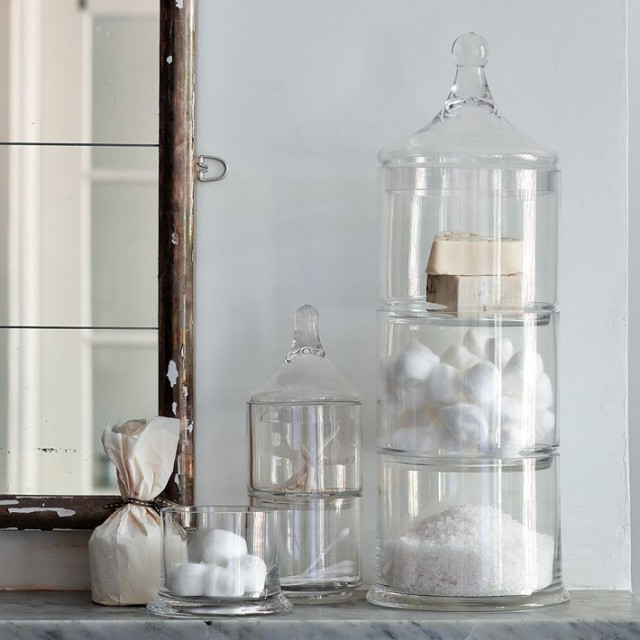 Glass Bathroom Canisters .
