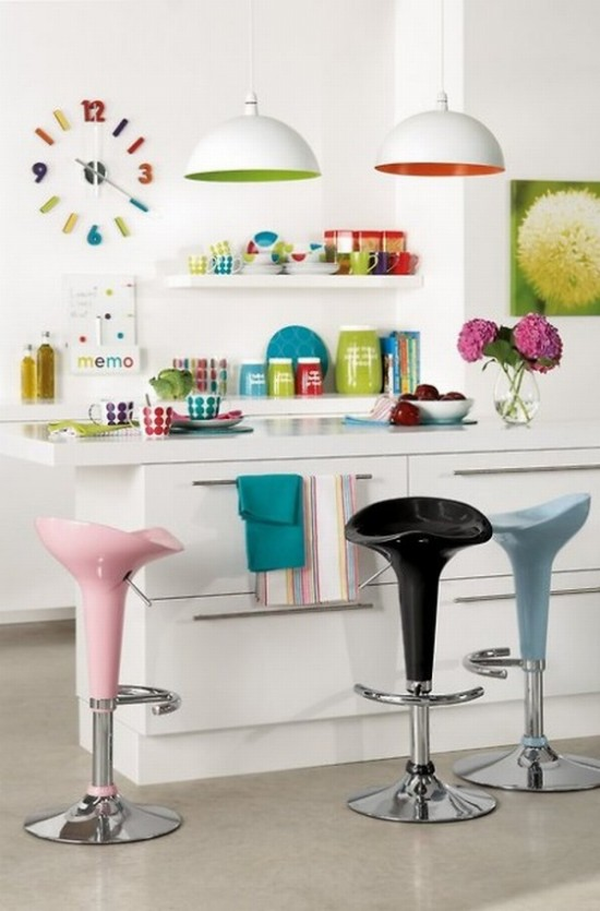 appealing-playfully-colorful-kitchen-decorating-ideas-colors-with-pink-black-blue-swivel-barstools-and-shelves-as-well-as-white-bowl-pendants-and-beautiful-flower-clock