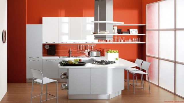 fascinating-U-shape-kitchen-decorating-ideas-colors-and-white-barstools-plus-orange-wall-paint-also-parquet-flooring-with-stainless-steel-sink-as-well-as-range-hood-945x529
