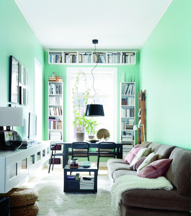 interior-cool-ikea-living-room-design-idea-with-kiwi-wall-brown-sofa-with-pink-green-cushions-black-pendant-light-and-black-table-comfortable-ikea-home-interior-design-ideas