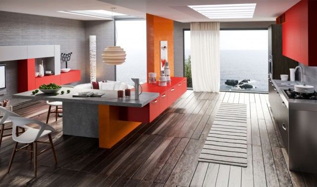 kitchen-design-with-red-cabinets-wenge-floor-range-wall-oven-single-faucet-sink-pendant-lamp-television-stainless-steel-countertops-orange-decor-curtains-chair-970x571