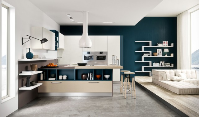 kitchen-design-with-teal-grey-wall-white-cabinets-bar-stools-single-faucets-sink-wall-oven-beige-countertops-pendant-lamp-shelves-low-sofa-dish-rack-wenge-floor-970x571