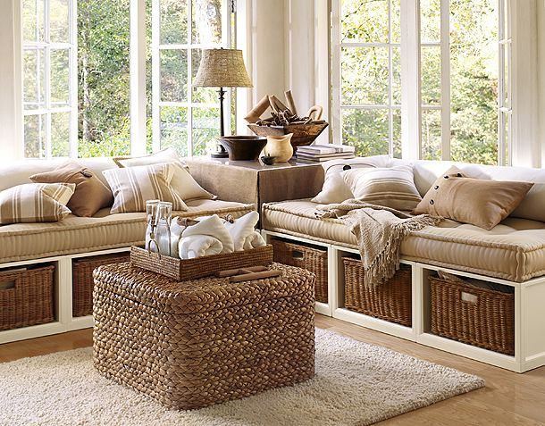 rustic-cottage-decor-style-cabin-wooden-living-room-rattan-basket-sofa-burlap-jute-chest-cushions-natural-fiber-earthy-look