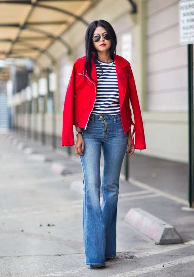 CommeDeGarcons_StripeShirt_Maguire_FlareDenim_Coach_BoroughBag_CurrentElliot_Red_Jacket_RonHermanStyle-11
