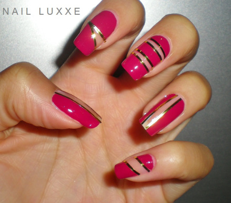 negative space nails-pink