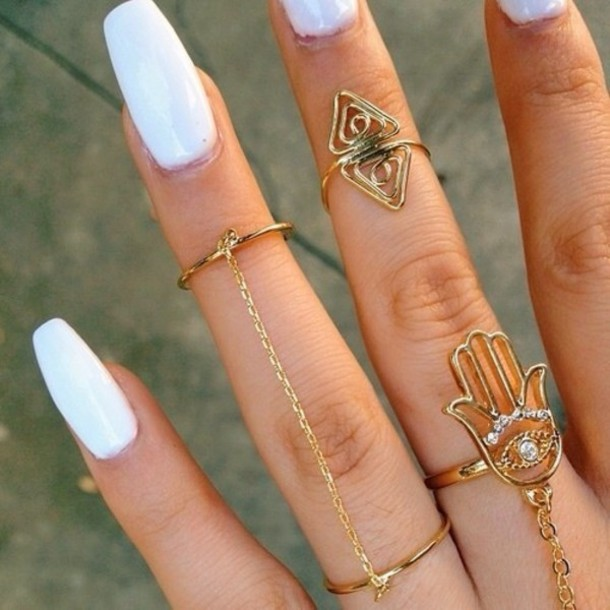 white nail design