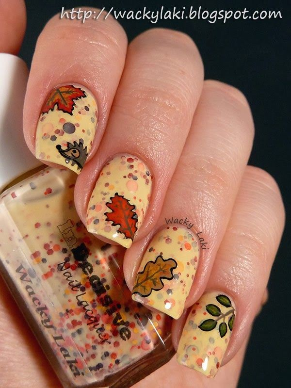 2014 fall leaves mixed nails polish art design - thanksgiving hedgehog animals nails polish-f85225