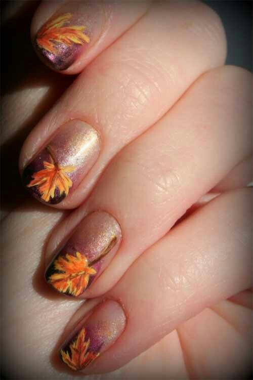 2014 thanksgiving fall leaves ombre glitter nails - leaf cool nails polish ideas-f85428