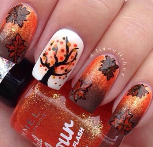 2014 thanksgiving leaf autumn ombre nails polish art - tree leaves pattern diy -f58732