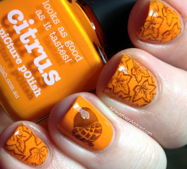 Autumn leaves and acorn stamping Picture Polish Citrus 2