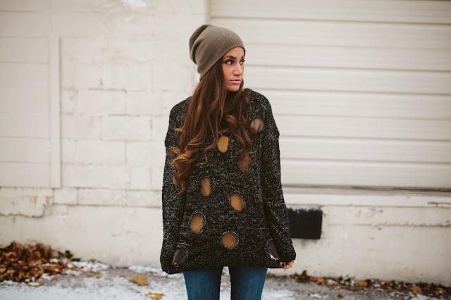 diy knit sweater polka dots-2