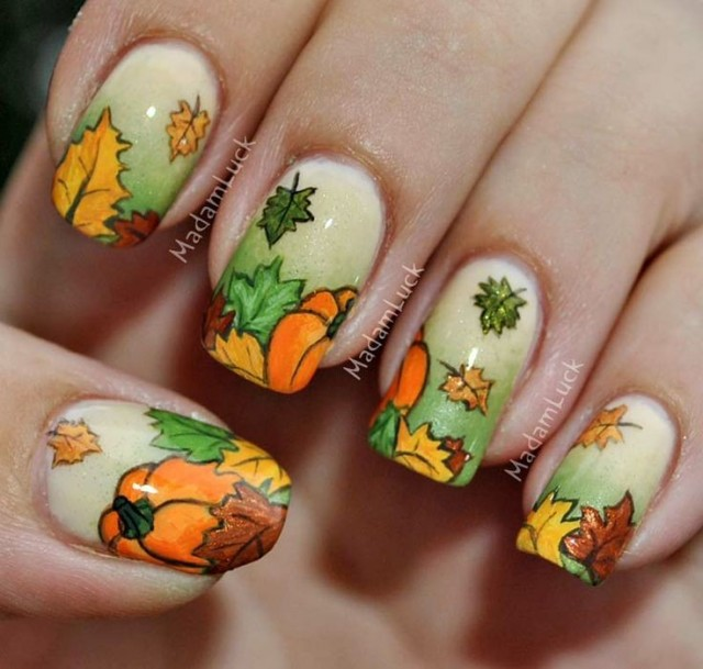 inspired 2014 thanksgiving leaf and pumpkin nails - ombre nails glitter-f63966