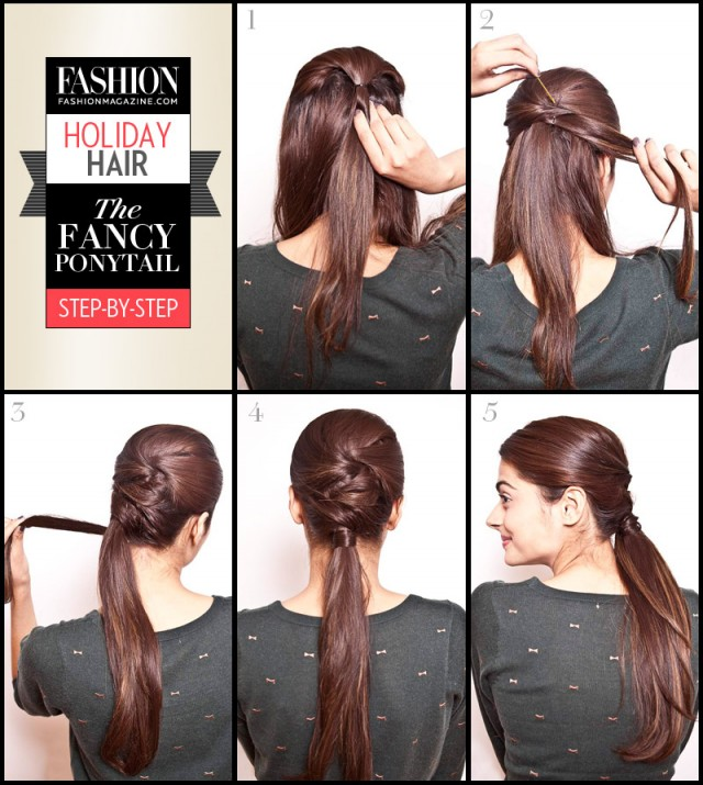 holiday hair tutorial fancy ponytail step by step
