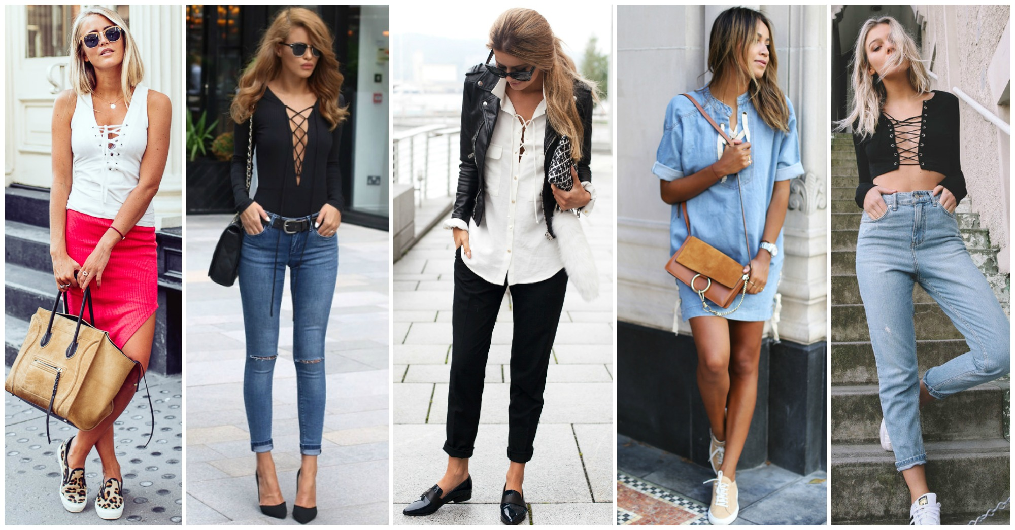 15 Fabulous Ways to Wear Lace Up Shirts and Dresses
