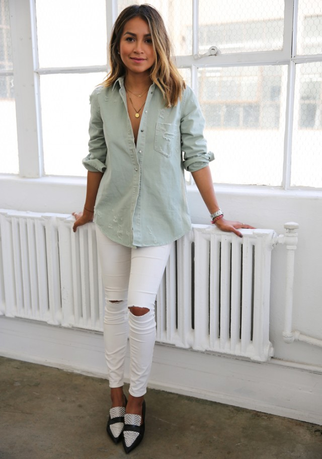 Stylish Ways to Pull Off the White Ripped Jeans Trend This Spring