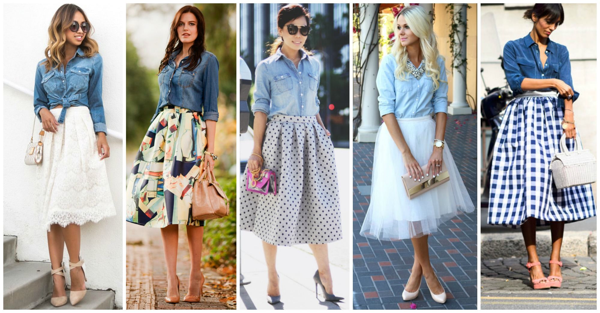 11 Stylish and Chic Outfit Ideas with Denim Shirts and Skirts