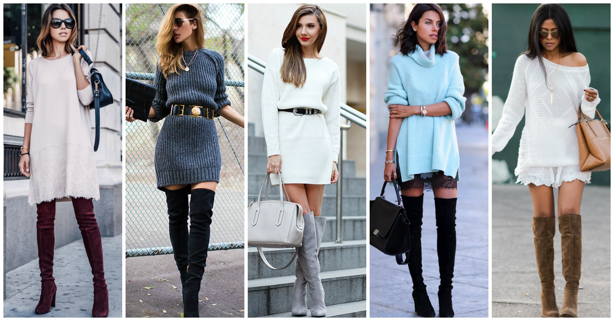 10 Chic and Warm Outfits with Knit Dresses and Over-the-Knee Boots for the Fall
