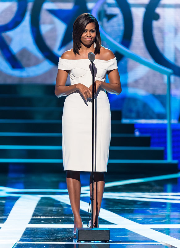 NEWARK, NJ - MARCH 28: First Lady of the United States Michelle Obama speaks onstage during 2015 'Black Girls Rock!' BET Special at NJ Performing Arts Center on March 28, 2015 in Newark, New Jersey. (Photo by Gilbert Carrasquillo/FilmMagic)