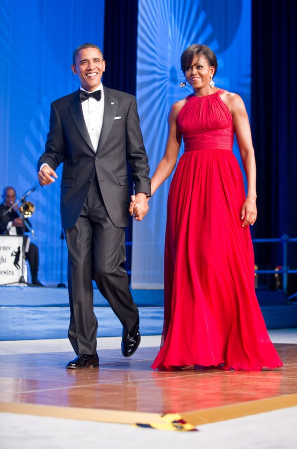 US President Barack Obama and his wife Michelle arrive at the annual Congressional Black Caucus Foundation Phoenix Awards dinner in Washington September 18, 2010. AFP PHOTO/Nicholas KAMM (Photo credit should read NICHOLAS KAMM/AFP/Getty Images)