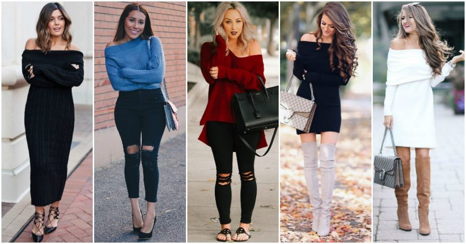 Off-The-Shoulder Sweaters and Dresses Are In
