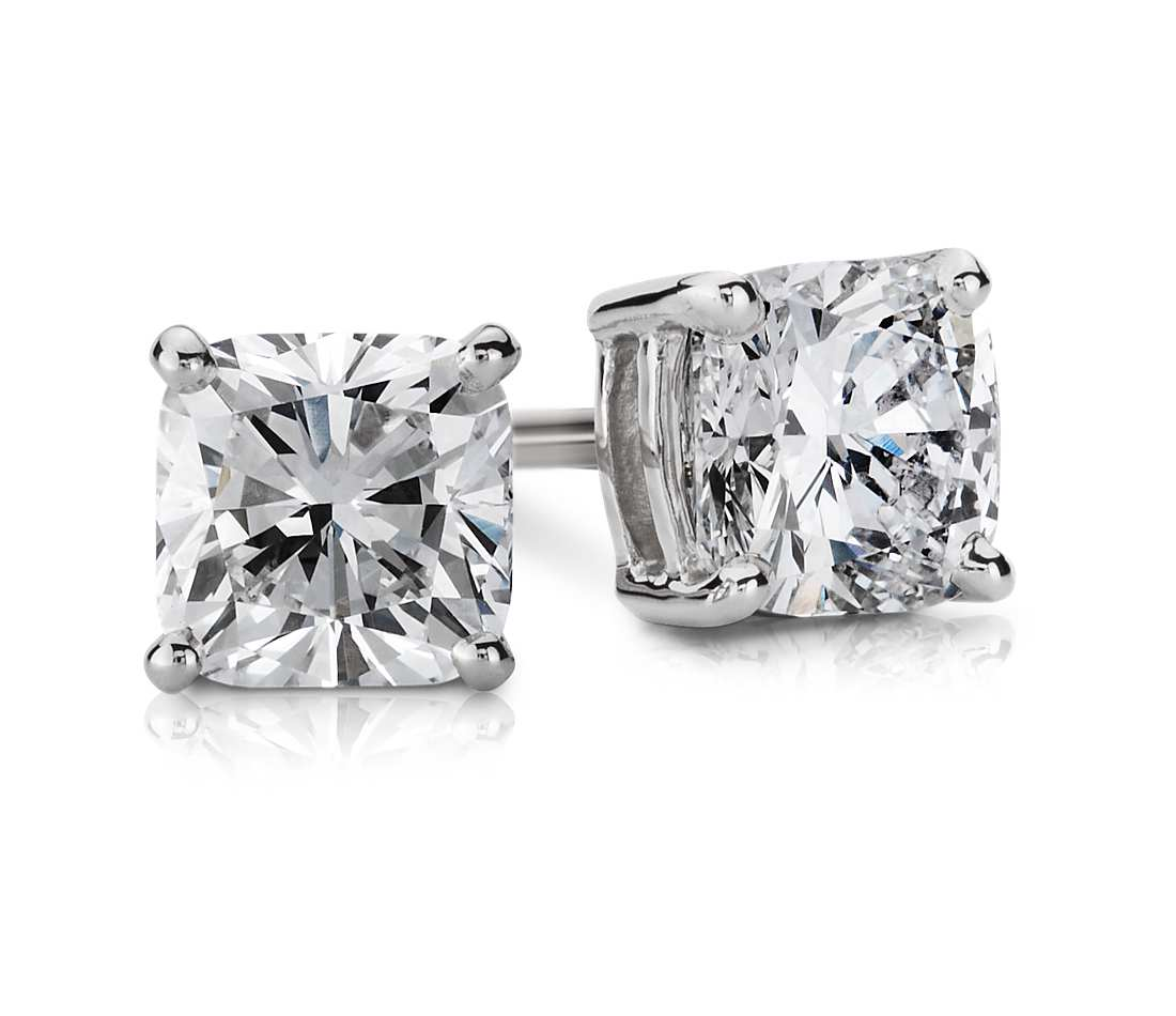 total stud diamond earrings products white princess square carat cut earring gold
